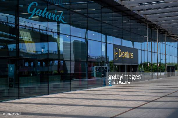 The main departures entrance at the currently closed North Terminal at Gatwick Airport on June 9, 2020 in London, England. Gatwick Airport has...