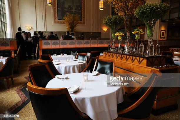 The main dining room is set for dinner at Eleven Madison Park at 11 Madison Avenue in the Flatiron District on April 6 2017 in New York City The...