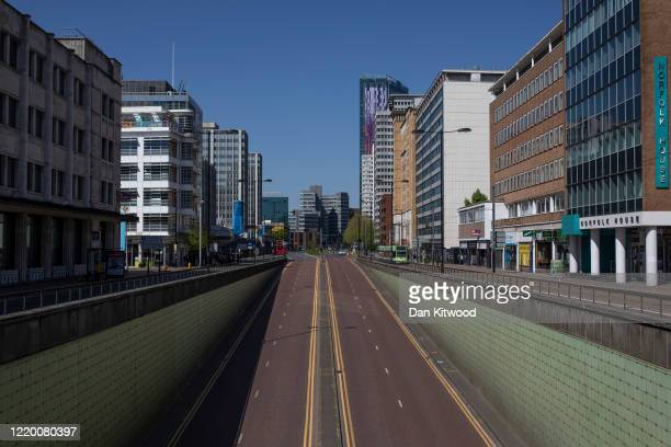 The main dual carriageway through Croydon stands quiet as the lockdown continues on April 20 2020 in London England The British government has...