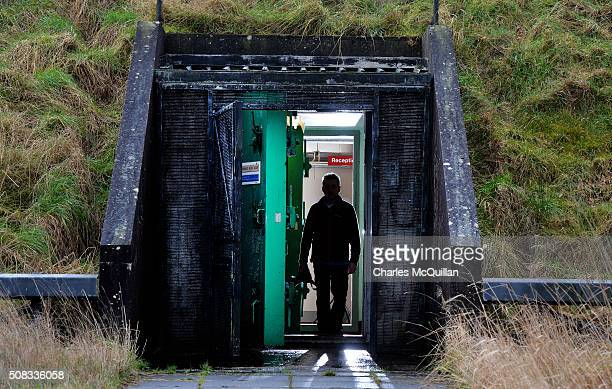 The main entrance and blast door at the nuclear bunker site on the Woodside Road industrial estate on February 4 2016 in Ballymena Northern Ireland...
