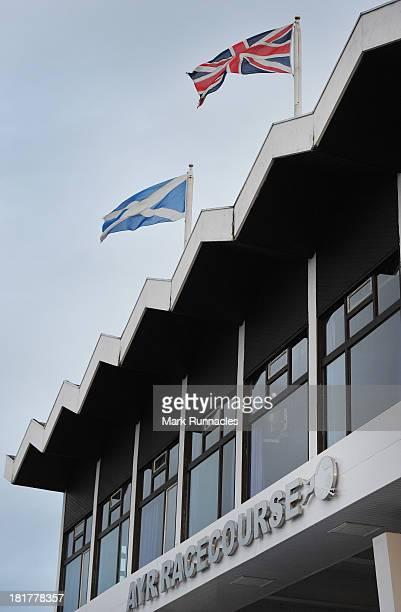 The main entrance at Ayr racecourse on September 21 2013 in Ayr Scotland