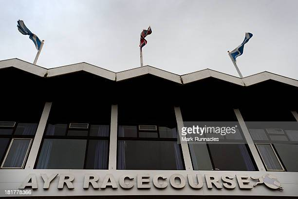 The main entrance at Ayr racecourse on September 21 2013 in Ayr Scotland