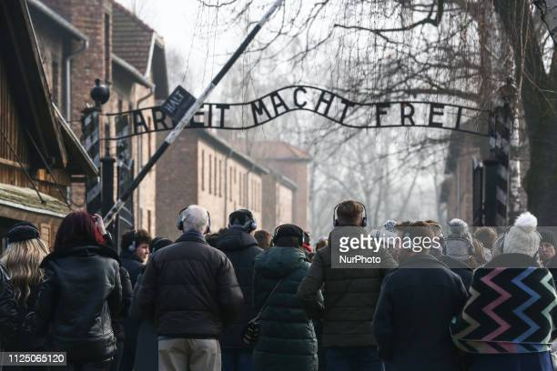 The main entrance gate 'Arbeit Macht Frei' at the former NaziGerman Auschwitz I concentration and extermination camp on February 15 2019 in Oswiecim...