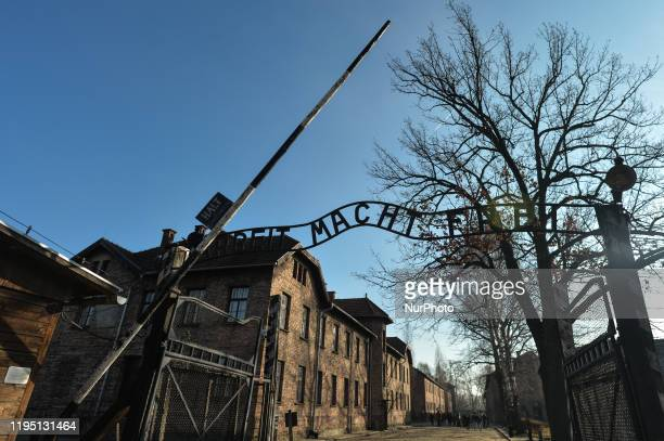 The main entrance gate toAuschwitz I former Nazi concentration camp with 'Arbeit Macht Frei' sign. On Tuesday, January 21 in Auschwitz I...