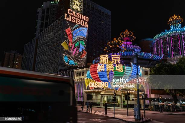 The main entrance of Casino Lisboa closes on February 5, 2020 in Macau, China. Macau government announced to close casinos for two weeks after a...