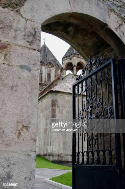 The main entrance of Gandzasar monastery is seen May 2, 2004 in Nagorno-Karabakh, Azerbaijan. The Gandzasar monastery is the only working monastery...