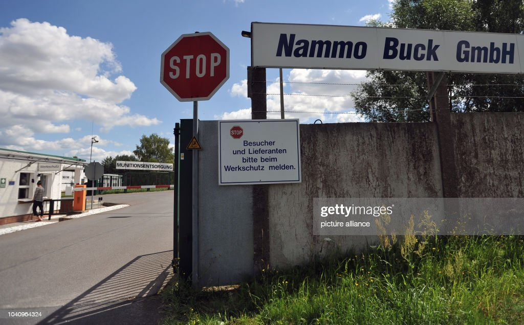 The main entrance of Nammo Buck GmbH in Pinnow, Germany, 23 July