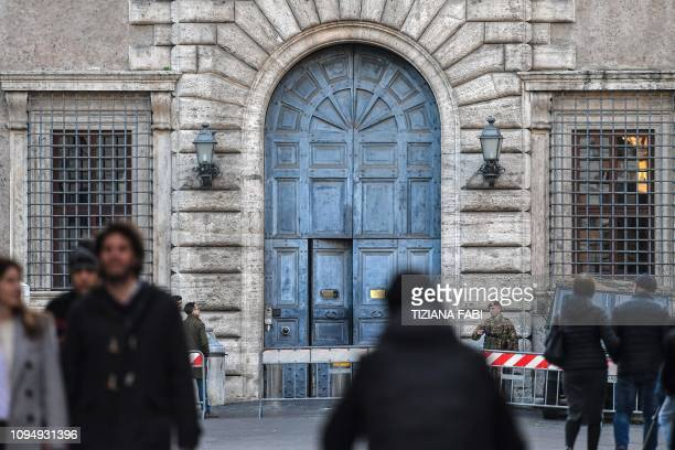 The main entrance of Palazzo Farnese headquarters of the French Embassy in Rome is pictured on February 7 2019 France on February 7 recalled its...