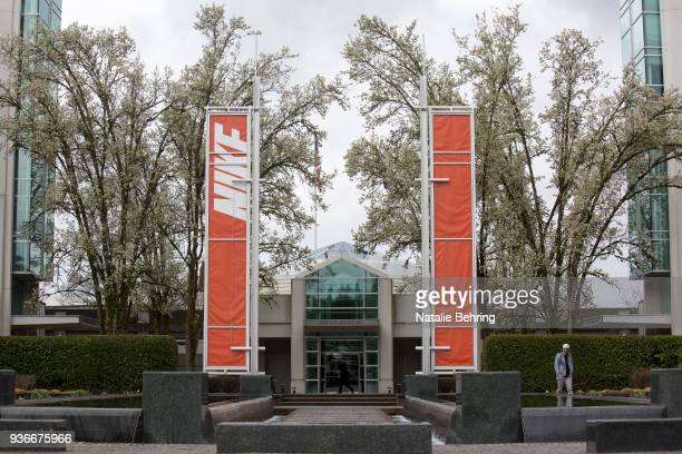 The main entrance of the Nike headquarters is seen on March 22 2018 in Beaverton Oregon Nike the world's largest sports brand reported better than...