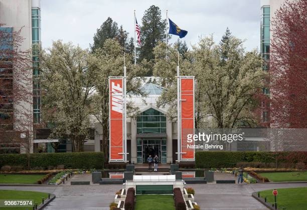 The main entrance of the Nike headquarters is seen on March 22, 2018 in Beaverton, Oregon. Nike, the world's largest sports brand, reported better...
