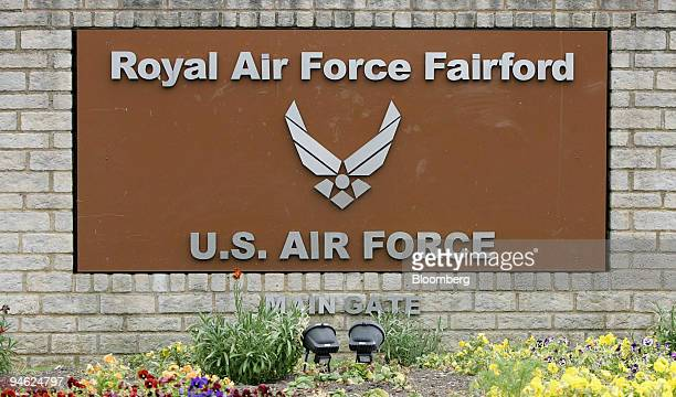 The main entrance sign to RAF Fairford, in Fairford, Gloucestershire, U.K., Wednesday, June 13, 2007. New British Prime Minister Gordon Brown faces...