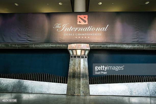 The main entrance signs at The International DOTA 2 Champsionships at Key Arena on July 19 2014 in Seattle Washington