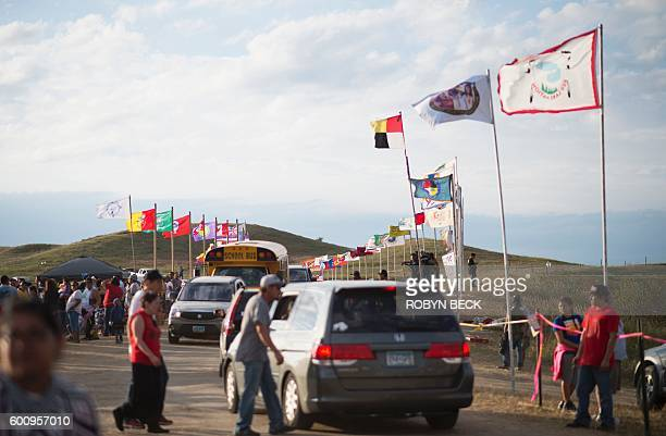 The main entrance to an oil pipeline protest encampment near Cannon Ball North Dakota where members of the Standing Rock Sioux tribe and their...