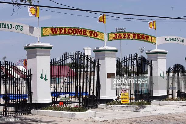 The Main Entrance to the New Orleans Fair Grounds, the venue for the New Orleans Jazz & Heritage Festival on April 27 the day before JazzFest opens.