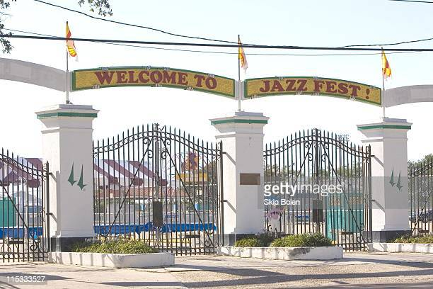 The Main Entrance to the New Orleans Jazz & Heritage Festival the day before JazzFest opens.