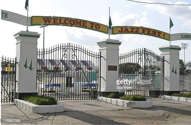 The Main Entrance to the New Orleans Jazz & Heritage Festival the day before JazzFest opens