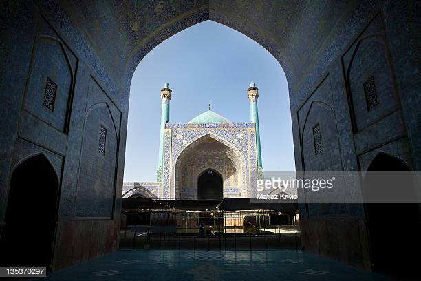 The main entrance view on the courtyard of Shah Mosque on June 25, 2008 in Isfahan, Iran.