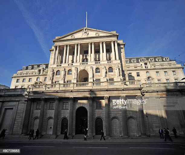 The main facade of the Bank of England on Threadneedle Street in the City of London