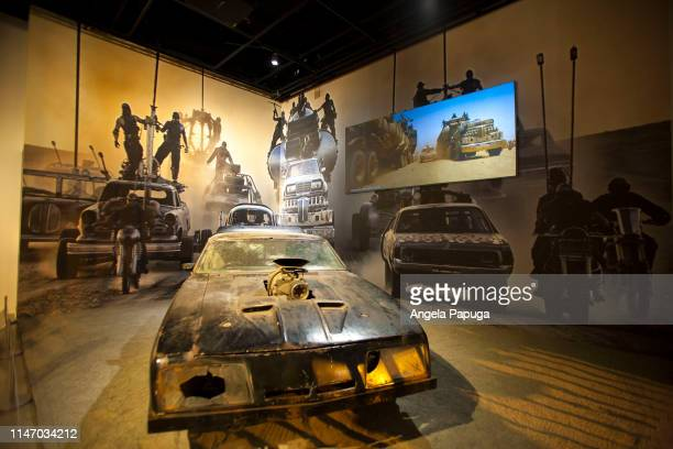 The Main Force Patrol V8 Interceptor from Mad Max Fury Road is seen during the opening of the new exhibit Hollywood Dream Machines Vehicles Of...