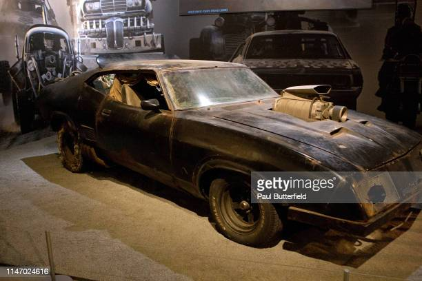 The Main Force Patrol V8 Interceptor from Mad Max Fury Road is displayed during the opening of the new exhibit Hollywood Dream Machines Vehicles Of...