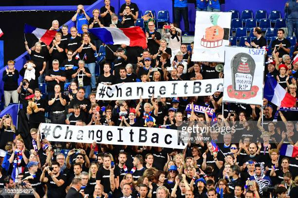 The main France team supporters group hold up banners protesting the new formet for the Davis Cup during Day 2 of the Davis Cup semi final on...