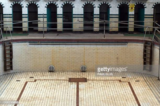 The main gala swimming pool at Moseley Road Baths is pictured in Birmingham, central England, on February 12 during a photocall to unveil the...