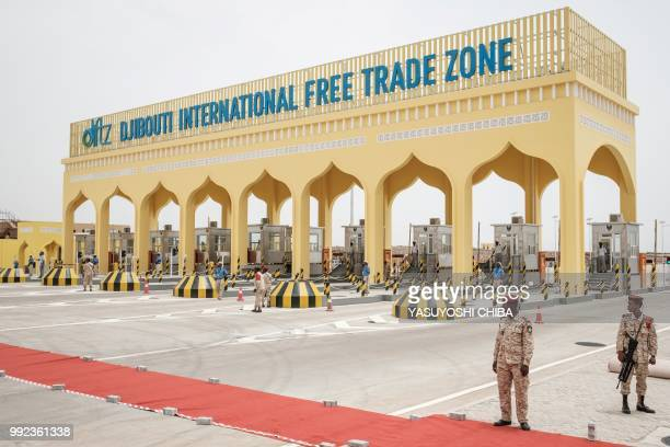 The main gate of Djibouti International Free Trade Zone is seen after the inauguration ceremony in Djibouti on July 5 2018