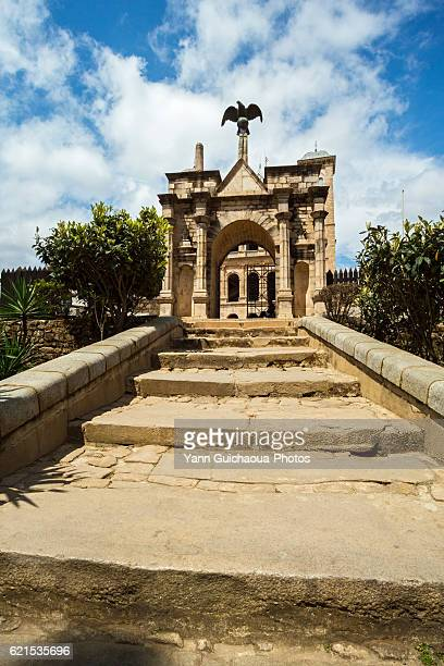 the main gate of the queen's palace rova,upper town, antananarivo, madagascar - antananarivo stock photos and pictures