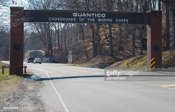 The main gate of the US Marine Corps Base in Quantico Virginia on March 22 2013 A US Marine shot and killed two colleagues late March 21 2013 before...