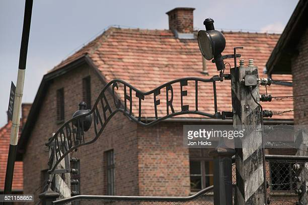 the main gate to kl auschwitz i - auschwitz concentration camp stock pictures, royalty-free photos & images
