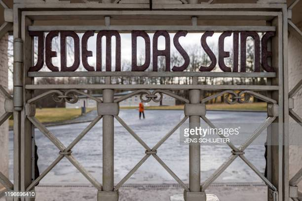 """The main gate with the inscription """"Jedem das Seine"""" is pictured at the memorial site of the former Nazi concentration camp Buchenwald near Weimar,..."""