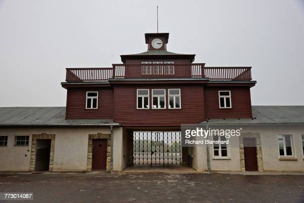 The main gatehouse at the entrance to the Buchenwald German Nazi concentration camp near Weimar Germany 2014 The site is now a museum and memorial...