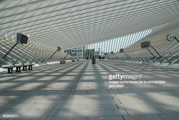 the main hall of liege train station - liege stock photos and pictures
