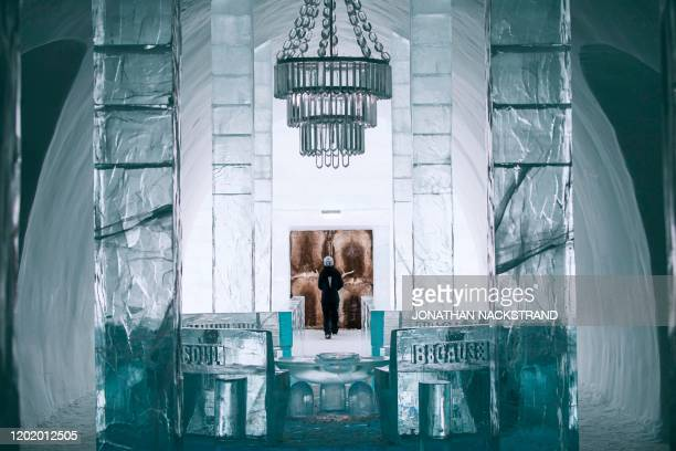 The Main Hall of the Ice Hotel, designed by the artists Jens Thoms Ivarsson, Mats Nilsson and words by Petri Tuominen, is pictured on February 9,...