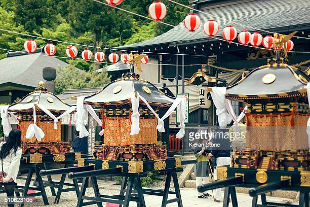 The main hall of Yamadera Konponchudo Hall during a religious festival Japan