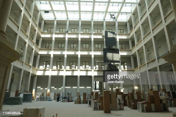 The main inside courtyard of the Humboldt Forum stands filled with recently arrived appliances on June 26, 2019 in Berlin, Germany. Director Hartmut...