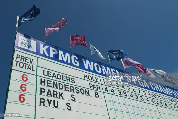 The main leaderboard is seen near the 18th hole during the third round of the KPMG Women's PGA Championship at Kemper Lakes Golf Club on June 30 2018...