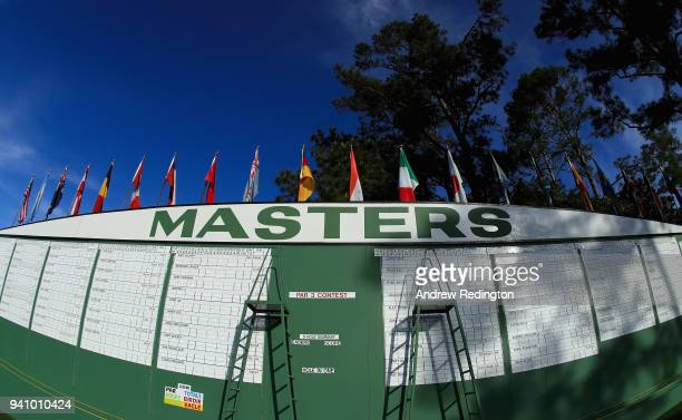 The main leaderboard is seen off the first fairway during a practice round prior to the start of the 2018 Masters Tournament at Augusta National Golf...