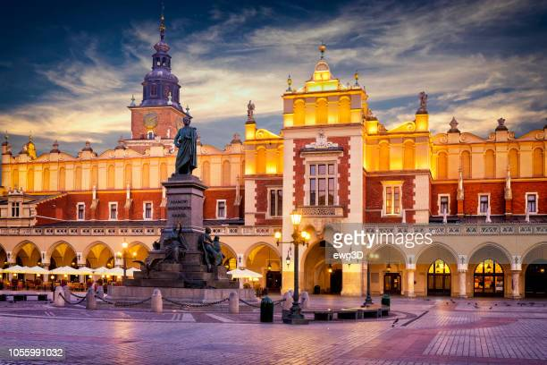 the main market square of krakow, poland - krakow stock pictures, royalty-free photos & images