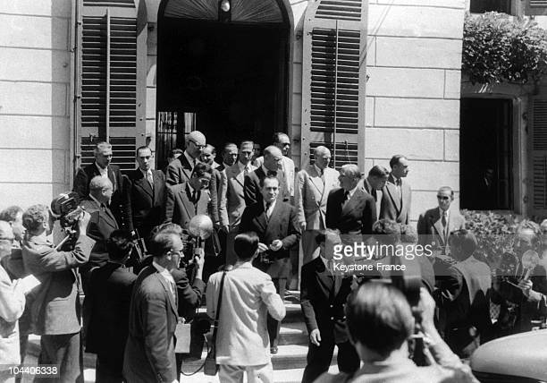 The main negotiators at the Geneva Conference, Pham VAN DONG, leader of Viet-minh, Pierre MENDES FRANCE, French Prime Minsiter and Anthony EDEN,...