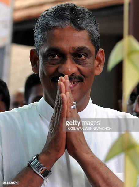 The main opposition challenger to the incumbent Mahinda Rajapakse in the January 26 presidential election General Sarath Fonseka takes part in a...