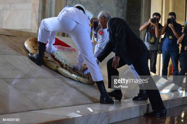 The main opposition Republican People's Party leader Kemal Kilicdaroglu places a wreath a march marking the 94th anniversary of his party at...