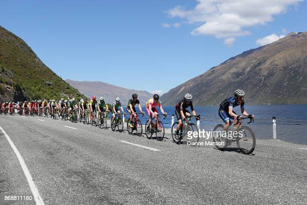 The main peloton heads towards Frankton during stage 3 from Mossburn to Coronet Peak during the 2017 Tour of Southland on November 1 2017 in...