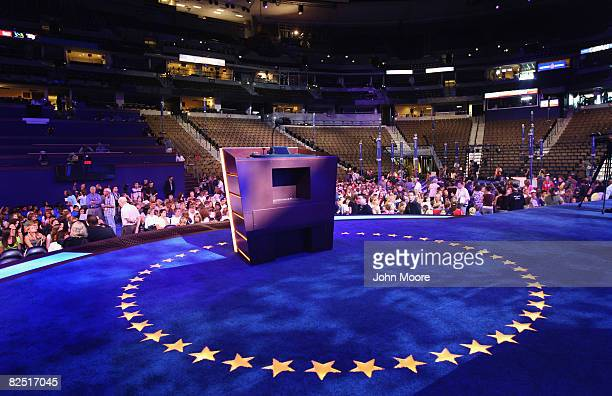 The main podium stands ready where speakers will address delegates to the Democratic National Convention at the Pepsi Center in Denver Colorado...