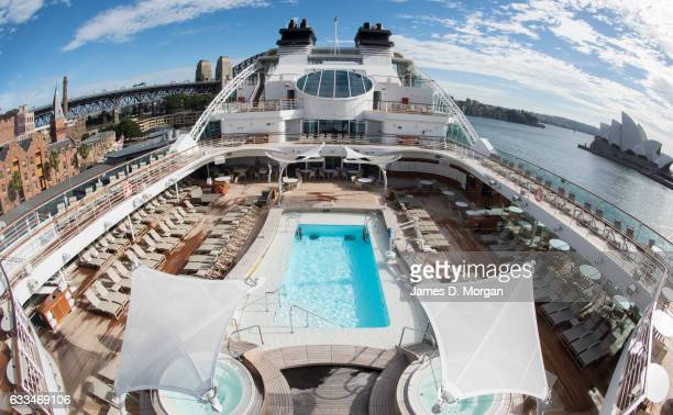 the main pool area of the Seabourn Encore with the opera House and Harbour Bridge as backgroun on February 2 2017 in Sydney Australia The Seabourn...