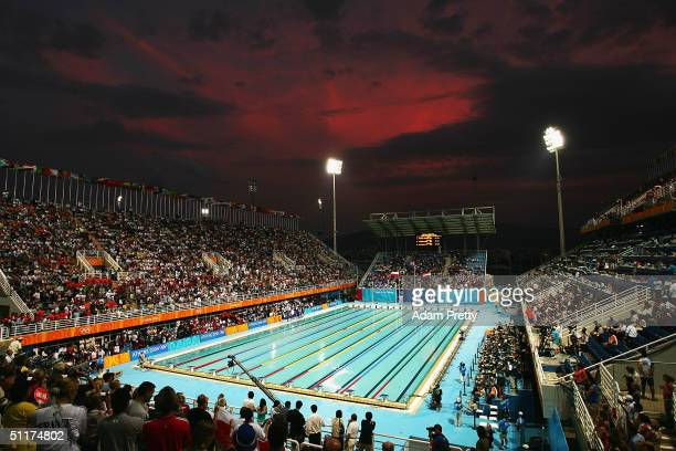The main pool of the Olympic Sports Complex Aquatic Centre is seen during the Athens 2004 Summer Olympic Games August 15 2004 in Athens Greece
