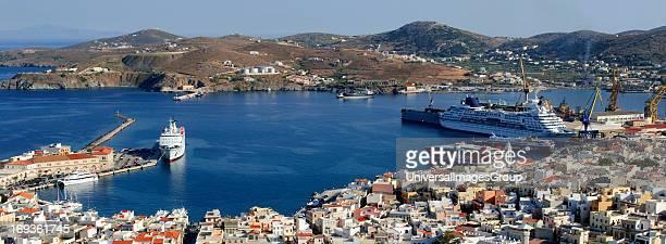The main port of Ermoupolis and capital Syros Syros island Cyclades Greece Syros island Cyclades Greece