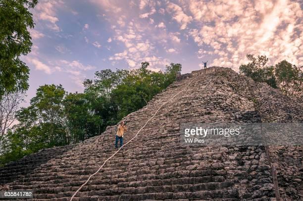 The main pyramid Nohoch Mul at Coba Mayan Ruins Quintana Roo Mexico