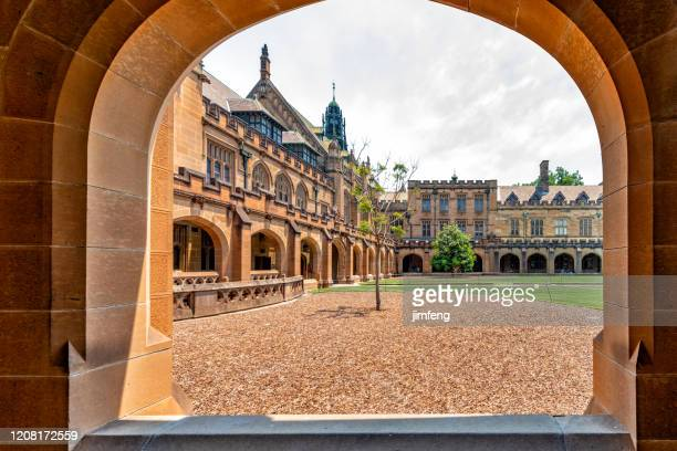 the main quadrangle building of the university of sydney, australia. - university of sydney stock pictures, royalty-free photos & images