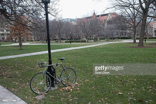 The Main Quadrangles on the Hyde Park Campus of the University of Chicago are nearly deserted after the University president order the school closed...